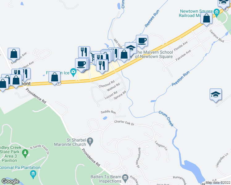 map of restaurants, bars, coffee shops, grocery stores, and more near 0 Locust Road in Newtown Square