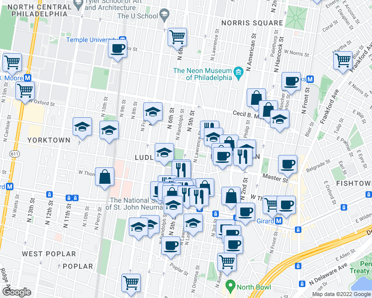 map of restaurants, bars, coffee shops, grocery stores, and more near N 5th St & W Jefferson St in Philadelphia
