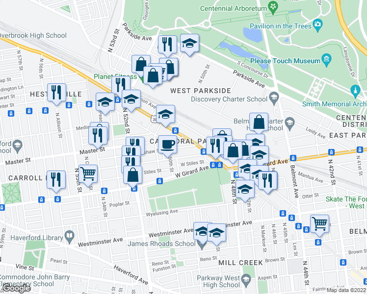map of restaurants, bars, coffee shops, grocery stores, and more near 4947-4949 West Thompson Street in Philadelphia
