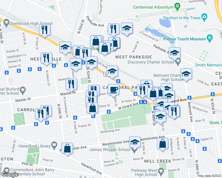 map of restaurants, bars, coffee shops, grocery stores, and more near 5010 Master St in Philadelphia