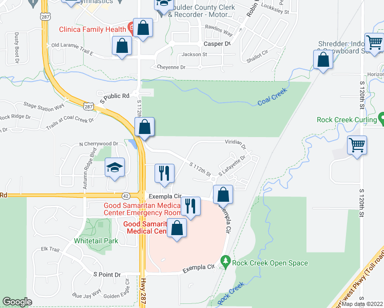 map of restaurants, bars, coffee shops, grocery stores, and more near 550 Viridian Drive in Lafayette
