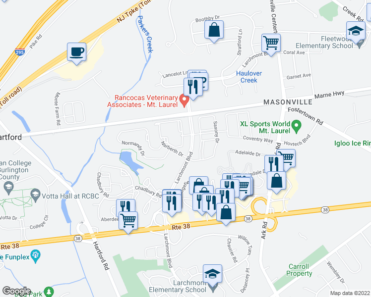 map of restaurants, bars, coffee shops, grocery stores, and more near 1686 Larchmont Place in Mount Laurel