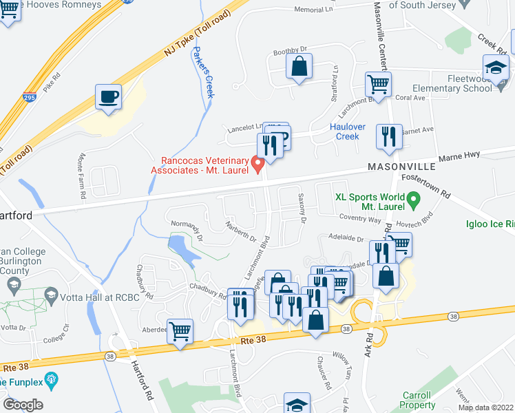 map of restaurants, bars, coffee shops, grocery stores, and more near 1 Larchmont Place in Mount Laurel Township