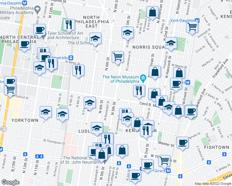 map of restaurants, bars, coffee shops, grocery stores, and more near 1725 North 5th Street in Philadelphia
