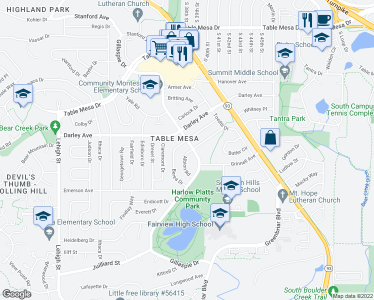 map of restaurants, bars, coffee shops, grocery stores, and more near 1125 Albion Road in Boulder