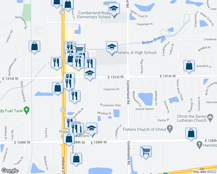map of restaurants, bars, coffee shops, grocery stores, and more near 13078 Sterling Commons in Fishers