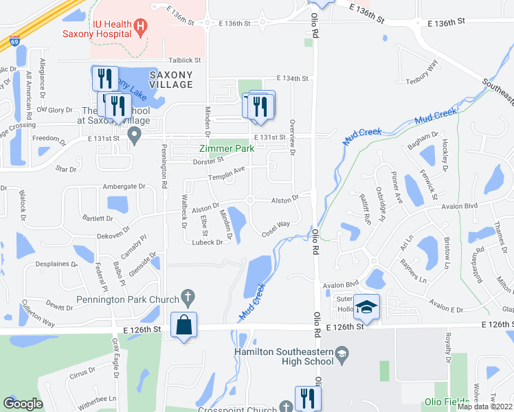 map of restaurants, bars, coffee shops, grocery stores, and more near 13603 Alston Drive in Fishers