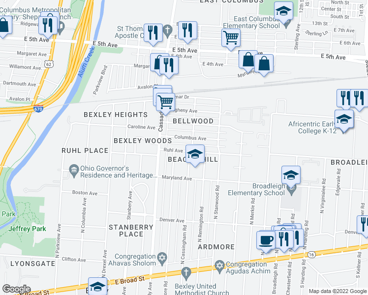 map of restaurants, bars, coffee shops, grocery stores, and more near 2706 Ruhl Avenue in Bexley