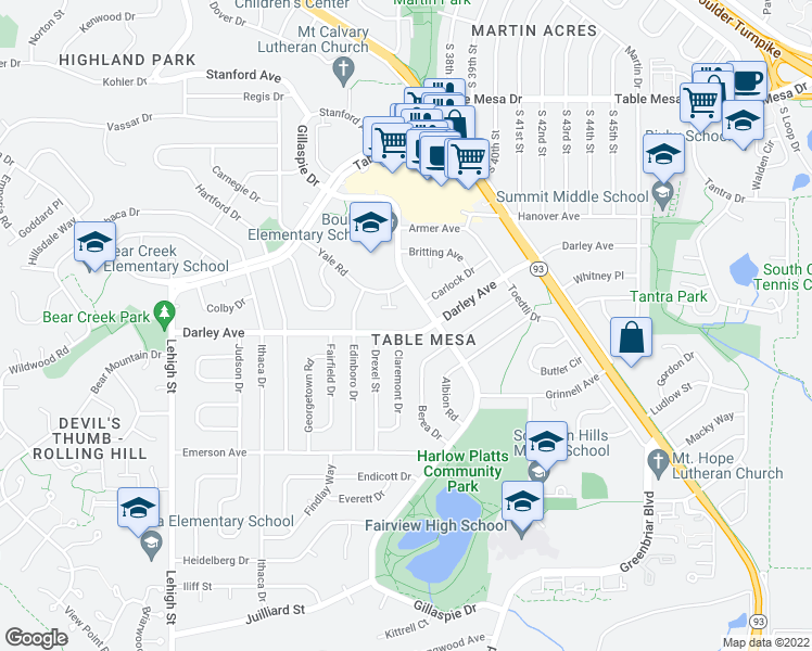 map of restaurants, bars, coffee shops, grocery stores, and more near 3695 Darley Avenue in Boulder