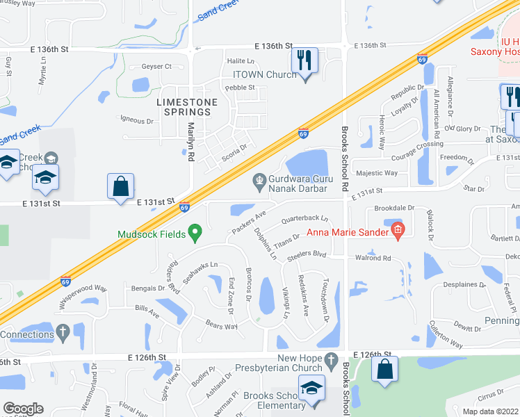 map of restaurants, bars, coffee shops, grocery stores, and more near 12250 Packers Avenue in Fishers