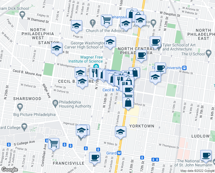 map of restaurants, bars, coffee shops, grocery stores, and more near Cecil B. Moore Avenue in Philadelphia