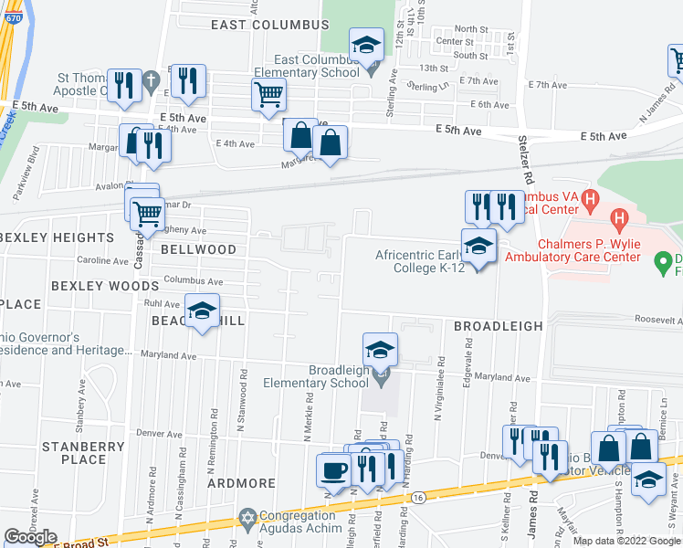 map of restaurants, bars, coffee shops, grocery stores, and more near N Gould Rd & Dana Dr in Columbus