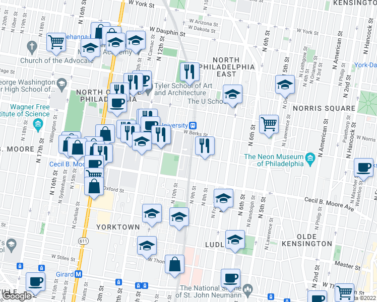 map of restaurants, bars, coffee shops, grocery stores, and more near 1801 North 10th Street in Philadelphia