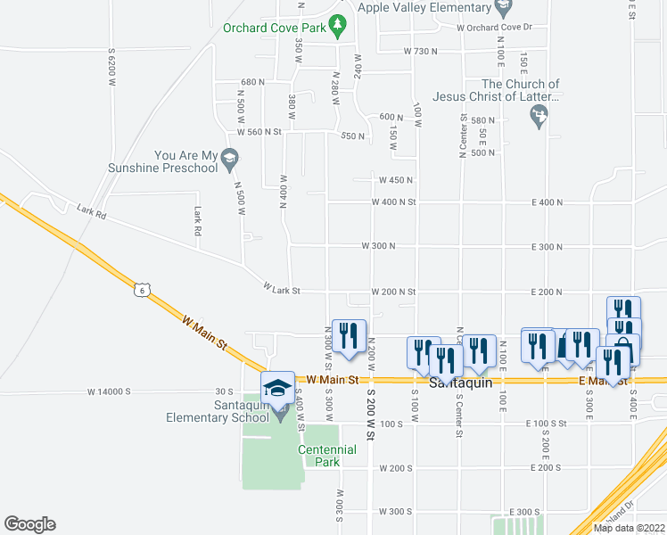 map of restaurants, bars, coffee shops, grocery stores, and more near 282 North 300 West Street in Santaquin