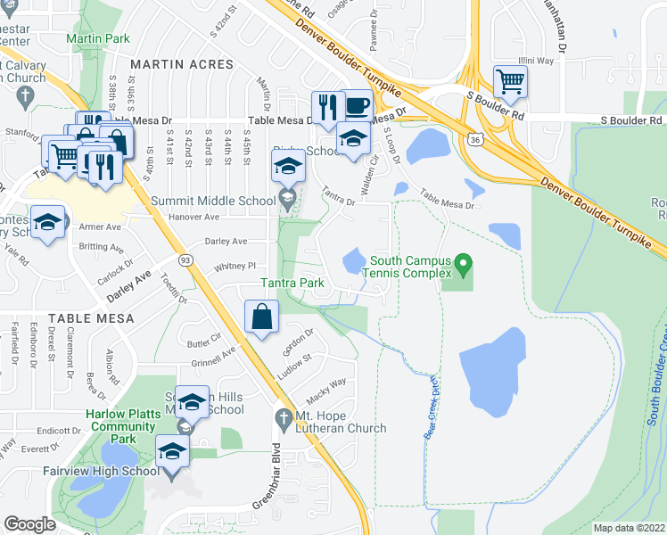 map of restaurants, bars, coffee shops, grocery stores, and more near 1000 West Moorhead Circle in Boulder