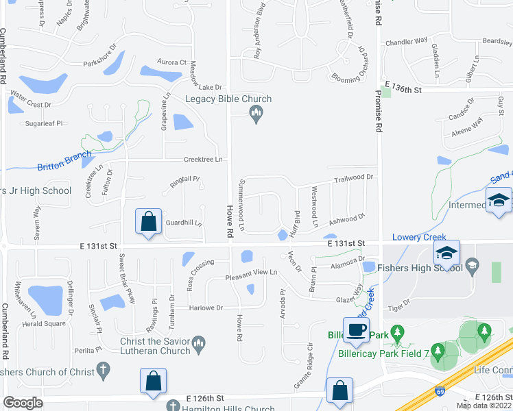 map of restaurants, bars, coffee shops, grocery stores, and more near 13260 Golden Ash Court in Fishers