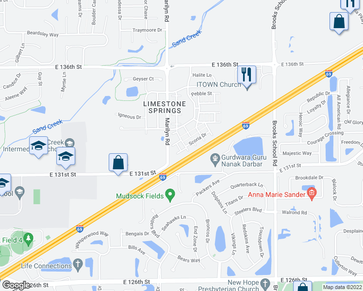 map of restaurants, bars, coffee shops, grocery stores, and more near 12035 Zircon Lane in Fishers
