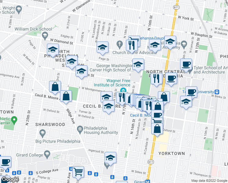 map of restaurants, bars, coffee shops, grocery stores, and more near 1804 North 18th Street in Philadelphia