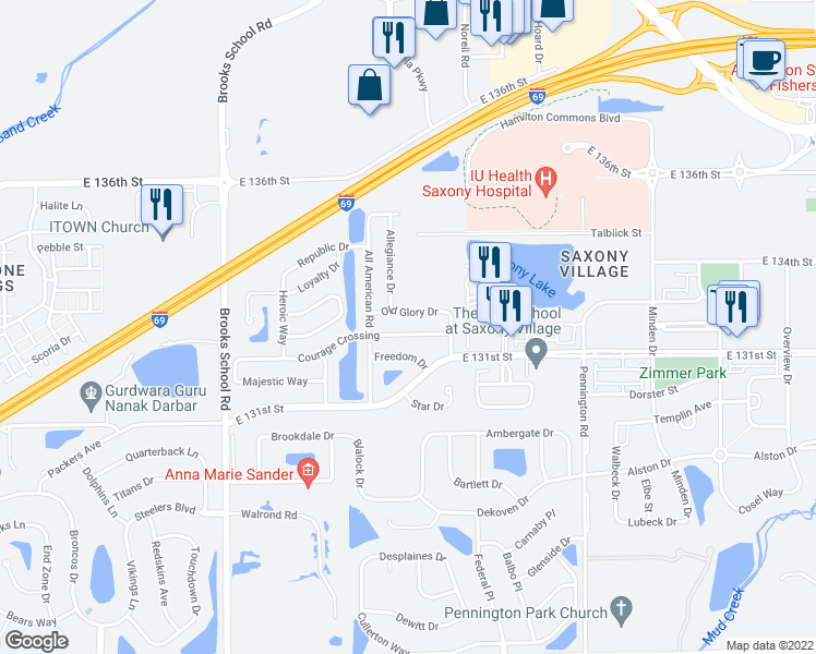 map of restaurants, bars, coffee shops, grocery stores, and more near 12876 Courage Crossing in Fishers