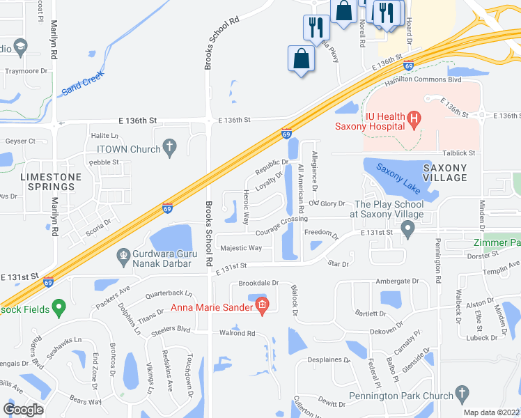 map of restaurants, bars, coffee shops, grocery stores, and more near 12651 Justice Crossing in Fishers