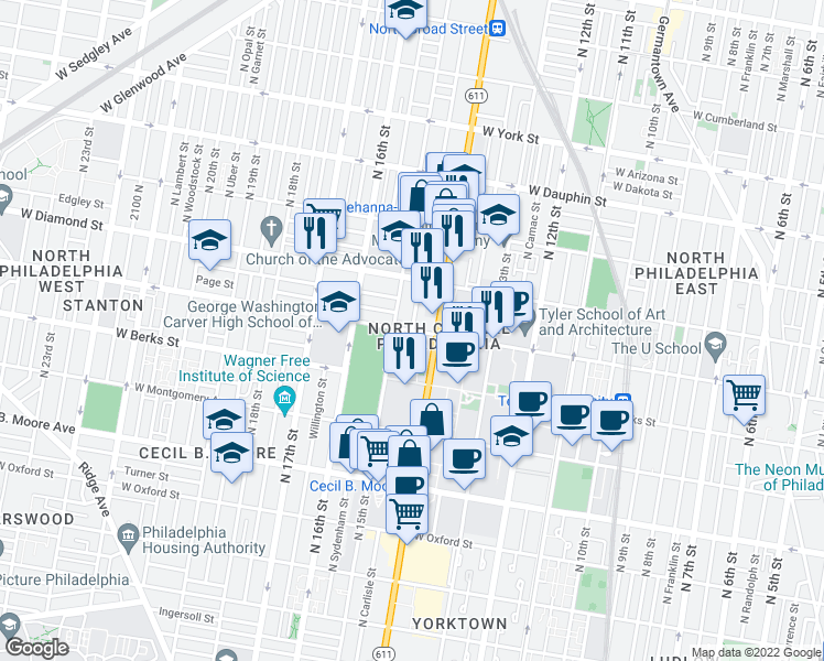 map of restaurants, bars, coffee shops, grocery stores, and more near W Norris St & N Carlisle St in Philadelphia
