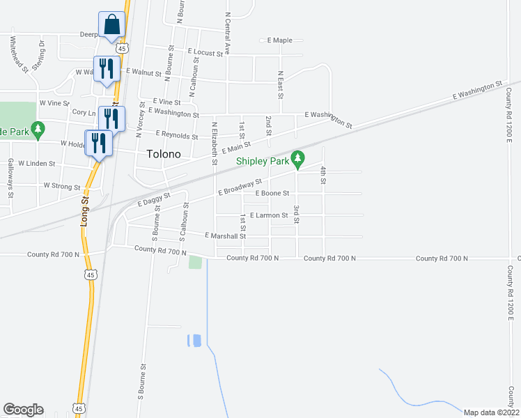 map of restaurants, bars, coffee shops, grocery stores, and more near 508 East Larmon Street in Tolono