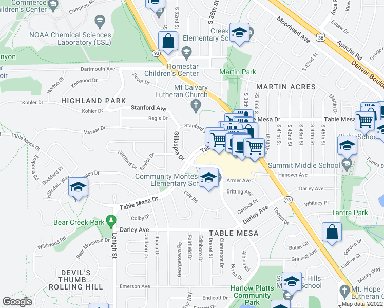 map of restaurants, bars, coffee shops, grocery stores, and more near 3455 Table Mesa Drive in Boulder