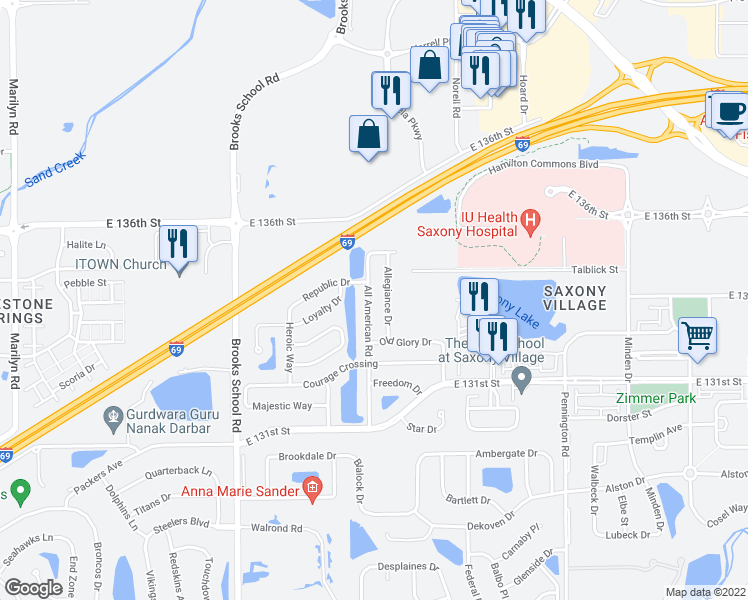 map of restaurants, bars, coffee shops, grocery stores, and more near 13411 All American Road in Fishers