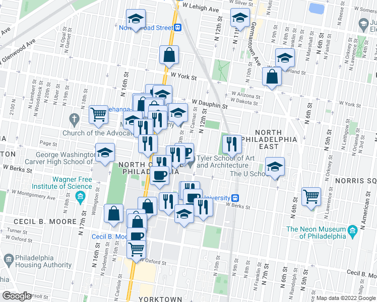 map of restaurants, bars, coffee shops, grocery stores, and more near Diamond Street & North Camac Street in Philadelphia