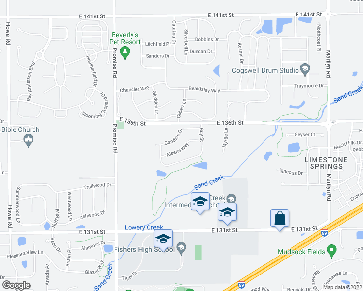 map of restaurants, bars, coffee shops, grocery stores, and more near 11313 Candice Drive in Fishers