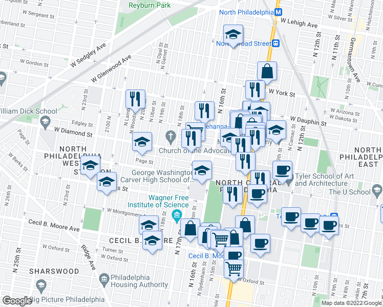 map of restaurants, bars, coffee shops, grocery stores, and more near 1702 West Diamond Street in Philadelphia