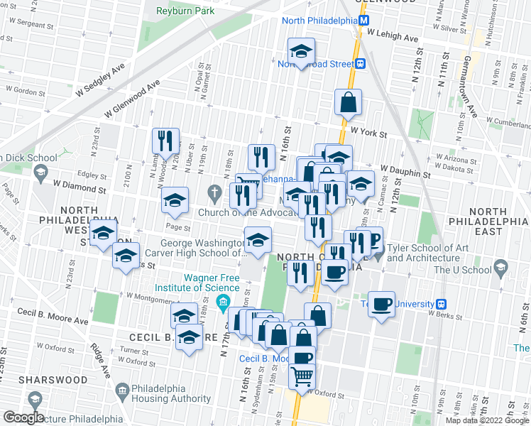 map of restaurants, bars, coffee shops, grocery stores, and more near 1613 West Diamond Street in Philadelphia