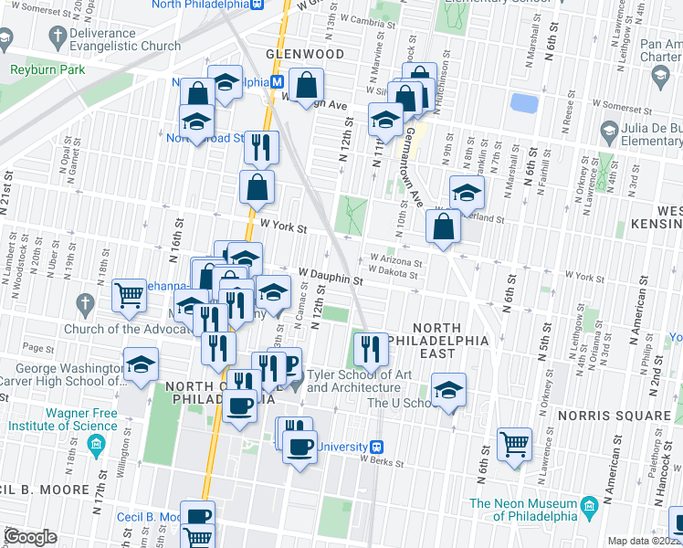 map of restaurants, bars, coffee shops, grocery stores, and more near 1115 West Dauphin Street in Philadelphia