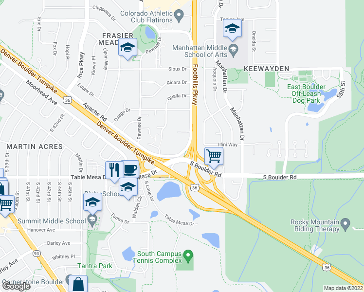 map of restaurants, bars, coffee shops, grocery stores, and more near 4940 Thunderbird Circle in Boulder