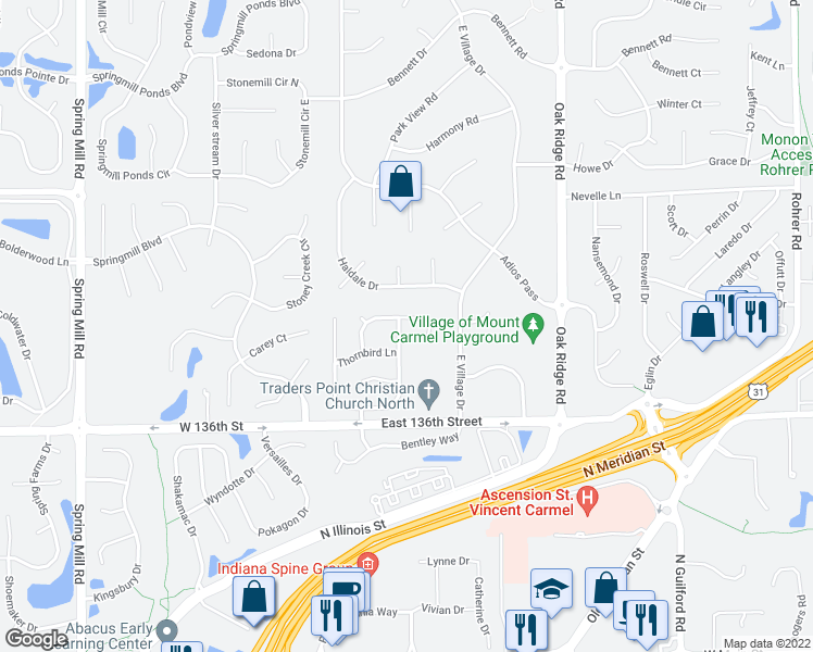 map of restaurants, bars, coffee shops, grocery stores, and more near 13703 Thistlewood Drive East in Carmel