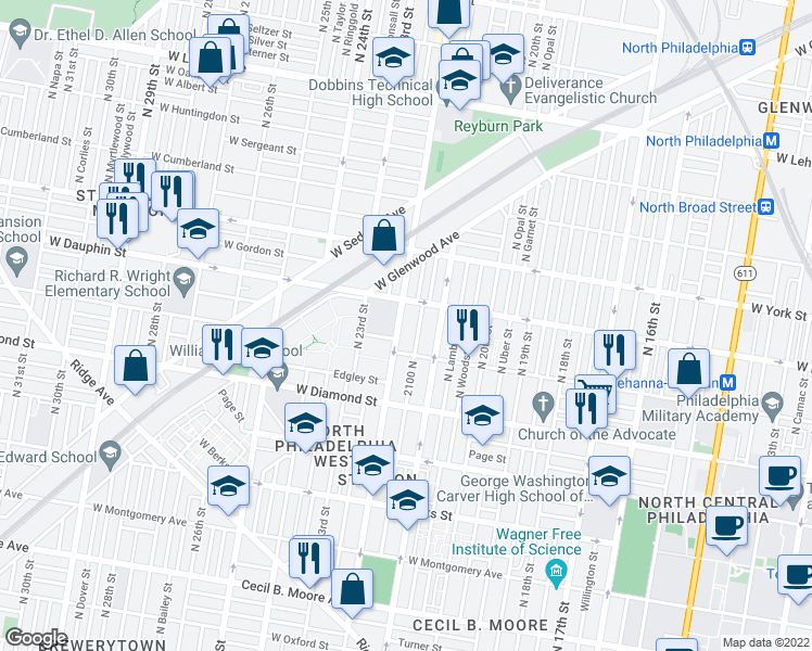 map of restaurants, bars, coffee shops, grocery stores, and more near 2233 North 22nd Street in Philadelphia