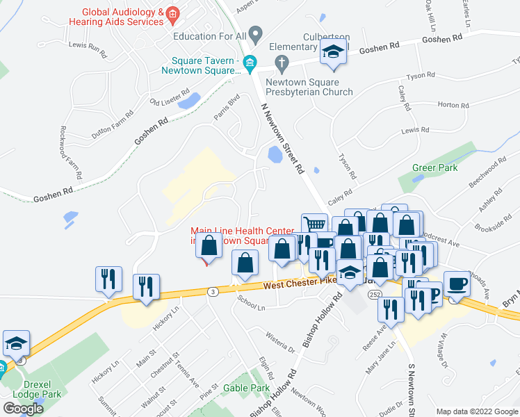 map of restaurants, bars, coffee shops, grocery stores, and more near 600 Charles Ellis Lane in Newtown Square