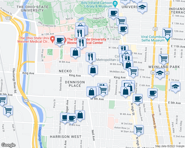 map of restaurants, bars, coffee shops, grocery stores, and more near 222 King Avenue in Columbus