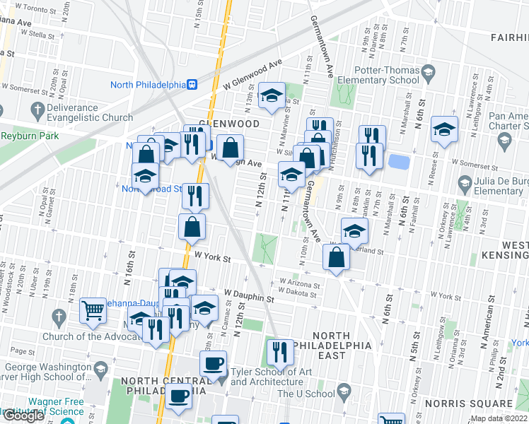 map of restaurants, bars, coffee shops, grocery stores, and more near 2544 N Sartain St in Philadelphia