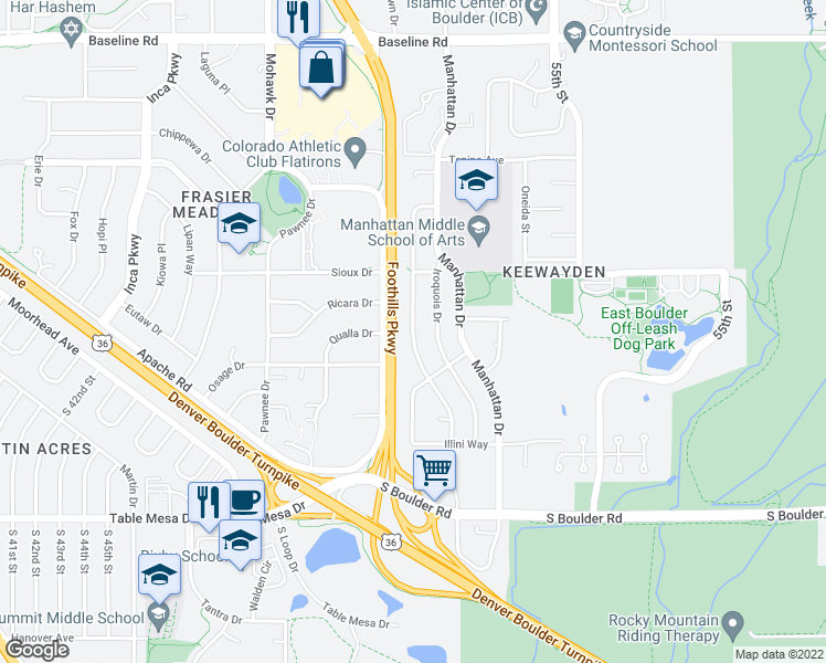 map of restaurants, bars, coffee shops, grocery stores, and more near Seminole Dr in Boulder