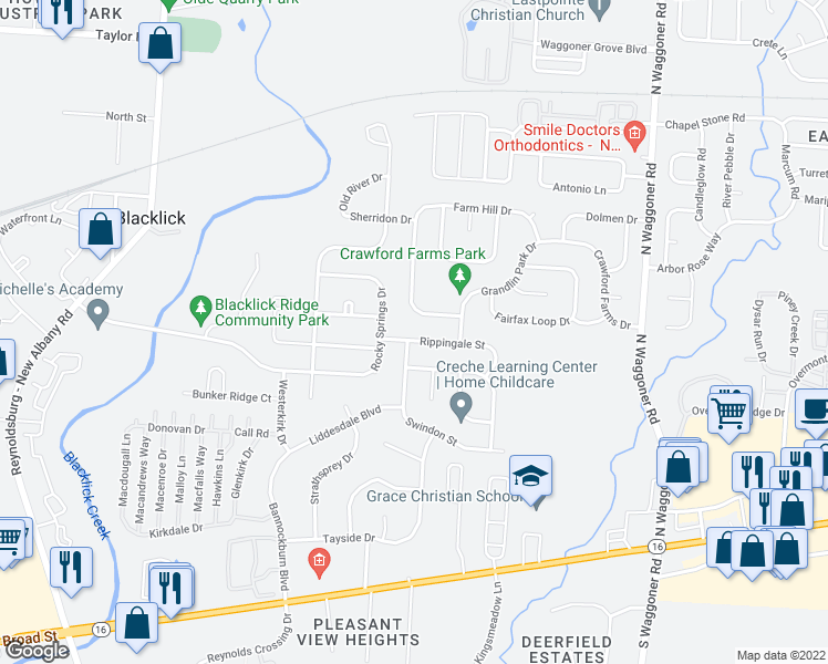 map of restaurants, bars, coffee shops, grocery stores, and more near 7610 Rippingale Street in Blacklick