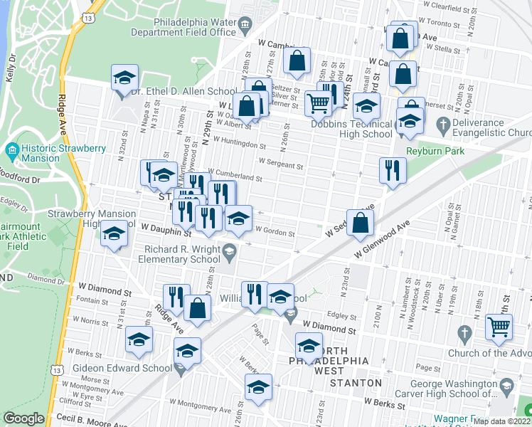 map of restaurants, bars, coffee shops, grocery stores, and more near 2614 West Arizona Street in Philadelphia