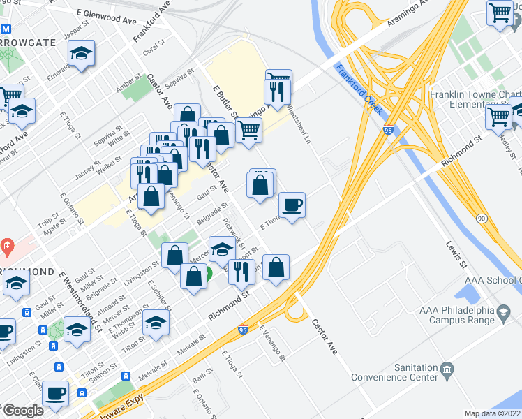 map of restaurants, bars, coffee shops, grocery stores, and more near in Philadelphia
