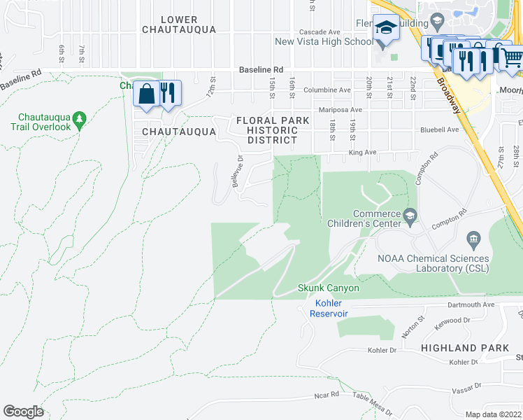map of restaurants, bars, coffee shops, grocery stores, and more near 35 Bellevue Drive in Boulder