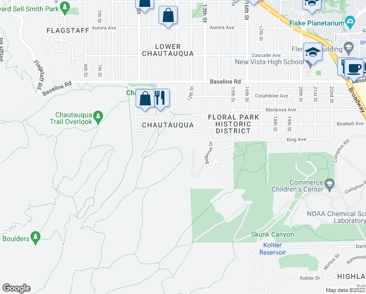 map of restaurants, bars, coffee shops, grocery stores, and more near 185 Bellevue Drive in Boulder