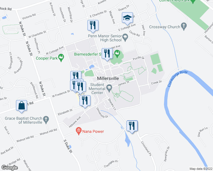 map of restaurants, bars, coffee shops, grocery stores, and more near 1 South George Street in Millersville