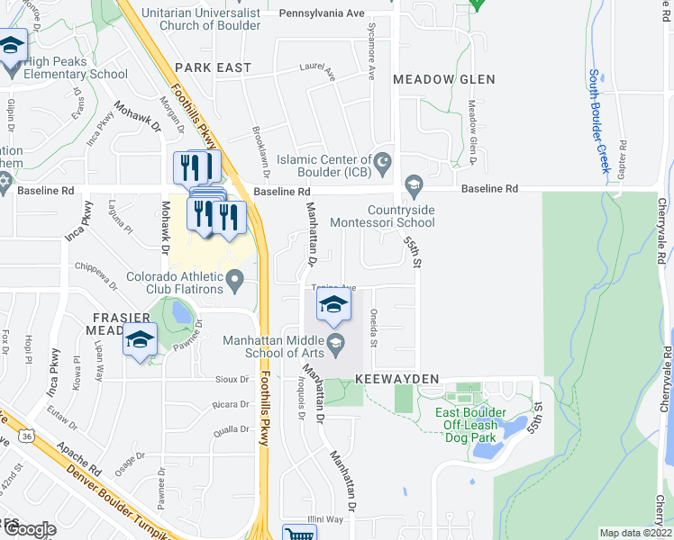 map of restaurants, bars, coffee shops, grocery stores, and more near 523 Aztec Drive in Boulder