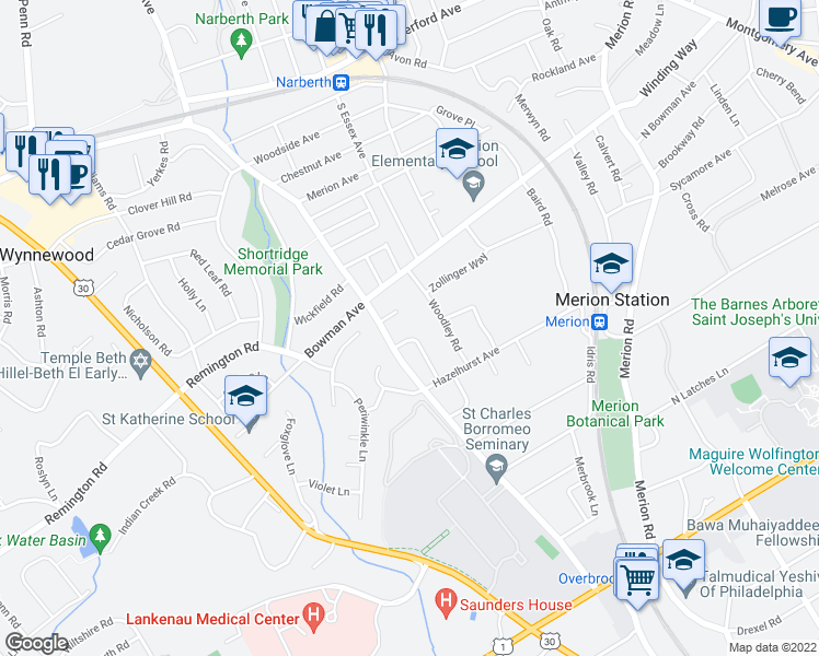 map of restaurants, bars, coffee shops, grocery stores, and more near 317 Berkley Road in Merion Station