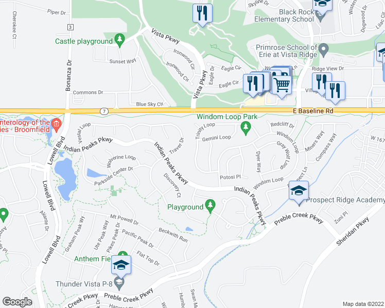 map of restaurants, bars, coffee shops, grocery stores, and more near 16631 Trinity Loop in Broomfield