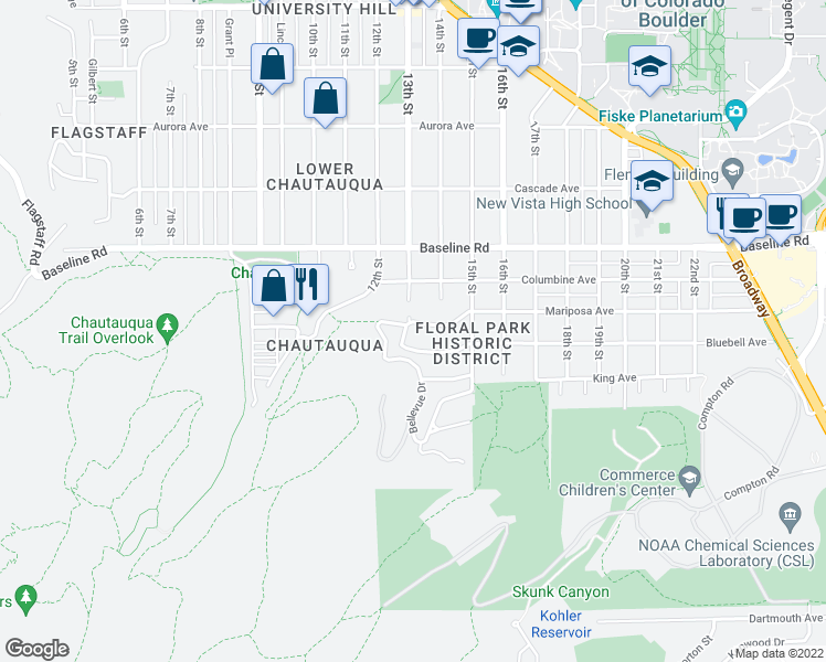 map of restaurants, bars, coffee shops, grocery stores, and more near 450 13th Street in Boulder